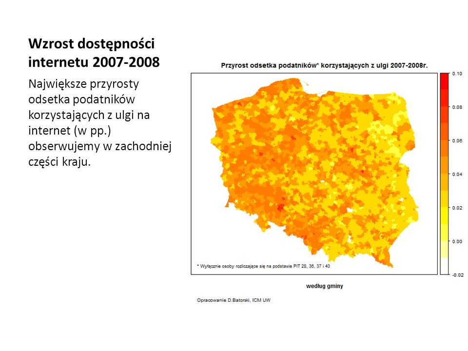 Wzrost dostępności internetu 2007-2008
