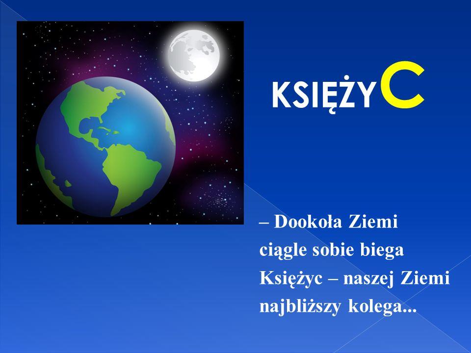 KSIĘŻYC – Dookoła Ziemi ciągle sobie biega Księżyc – naszej Ziemi najbliższy kolega...