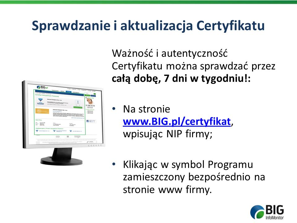 Sprawdzanie i aktualizacja Certyfikatu