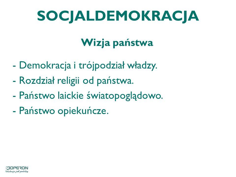 SOCJALDEMOKRACJA Wizja państwa Demokracja i trójpodział władzy.
