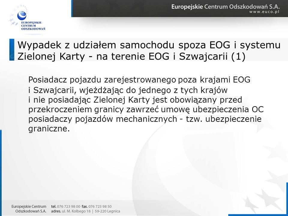 Wypadek z udziałem samochodu spoza EOG i systemu Zielonej Karty - na terenie EOG i Szwajcarii (1)