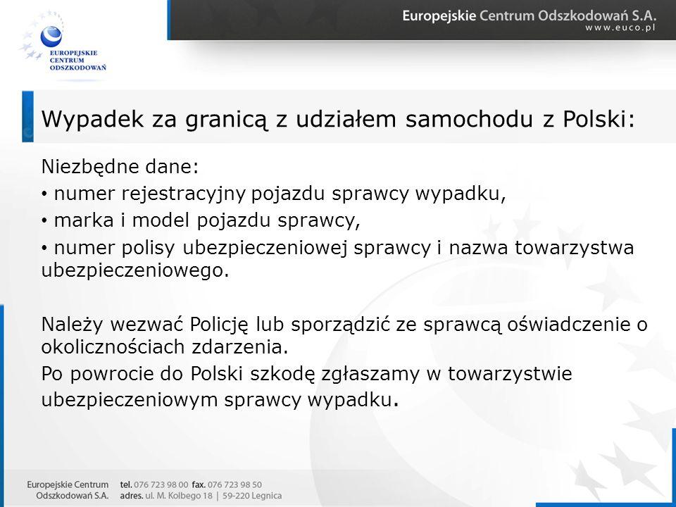 Wypadek za granicą z udziałem samochodu z Polski: