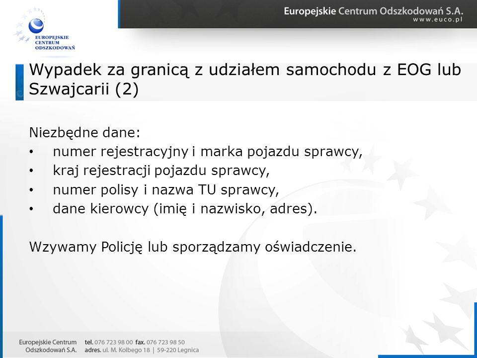 Wypadek za granicą z udziałem samochodu z EOG lub Szwajcarii (2)