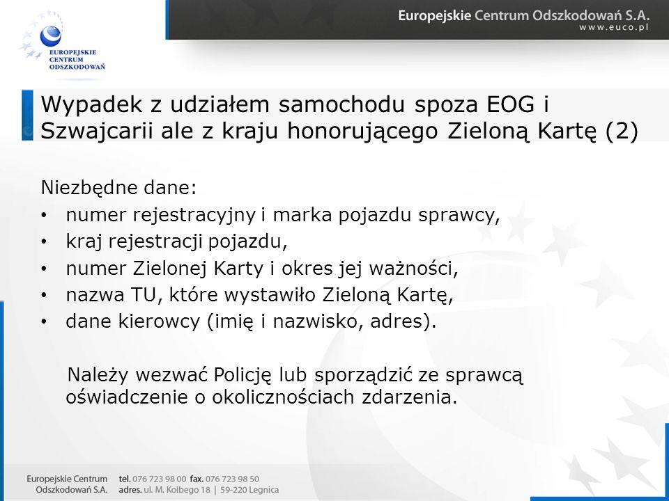 Wypadek z udziałem samochodu spoza EOG i Szwajcarii ale z kraju honorującego Zieloną Kartę (2)