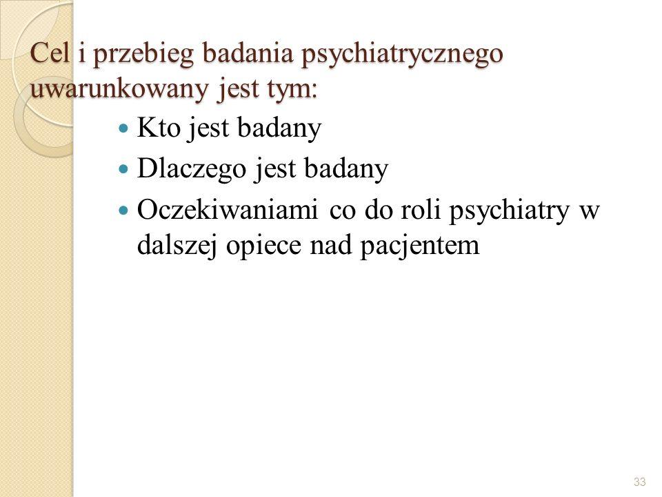 Cel i przebieg badania psychiatrycznego uwarunkowany jest tym: