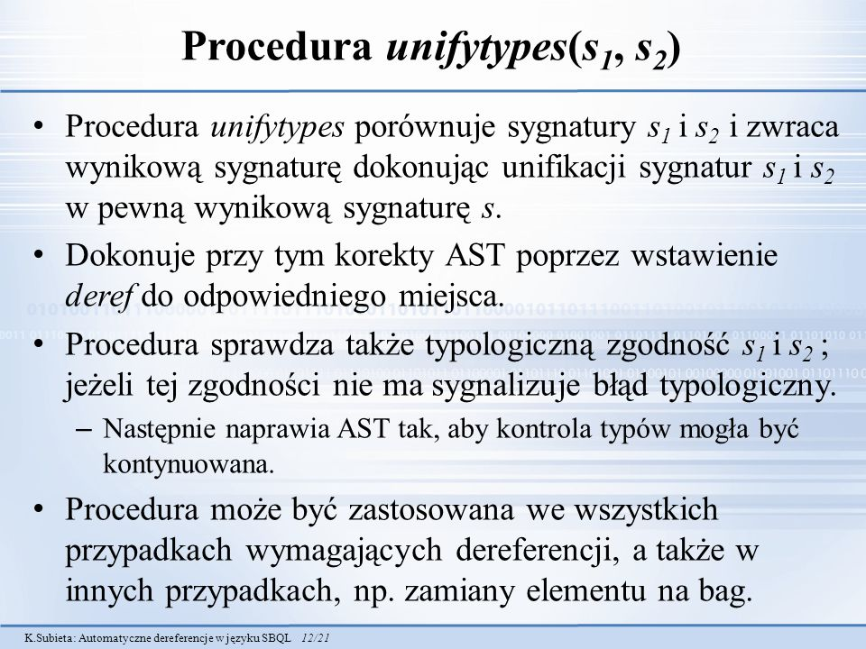 Procedura unifytypes(s1, s2)