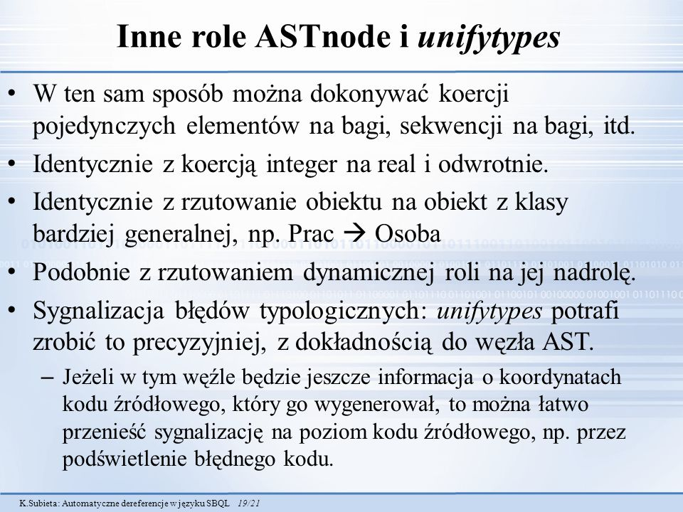 Inne role ASTnode i unifytypes