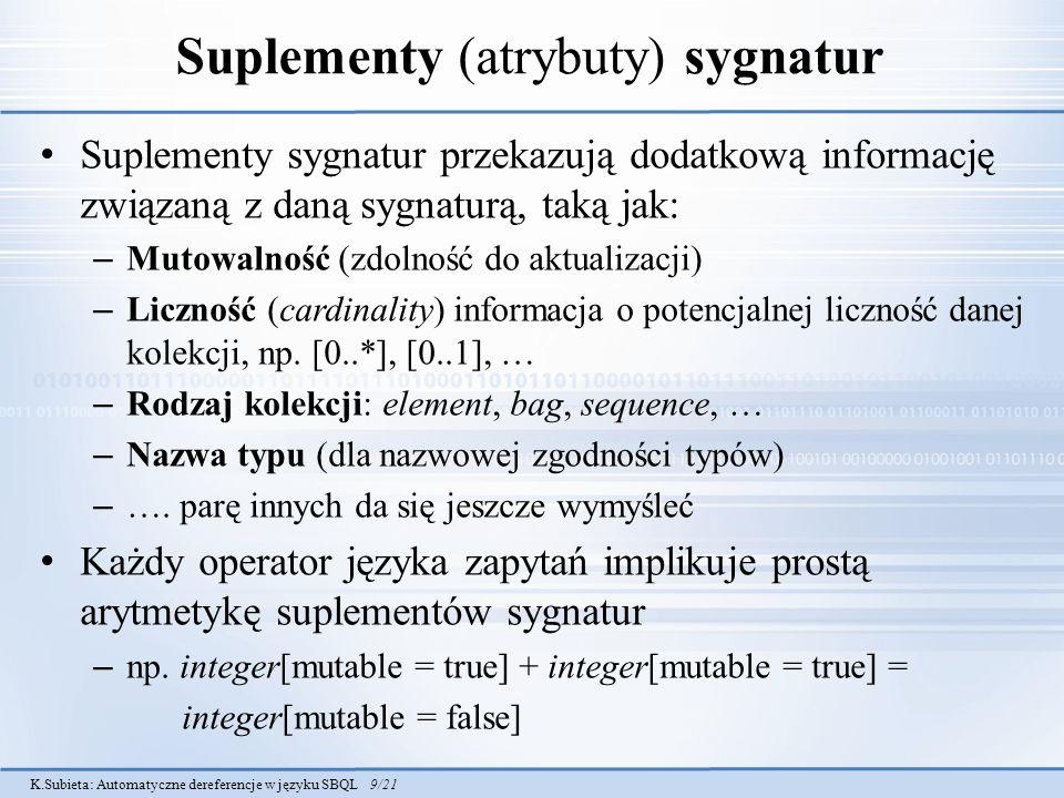 Suplementy (atrybuty) sygnatur