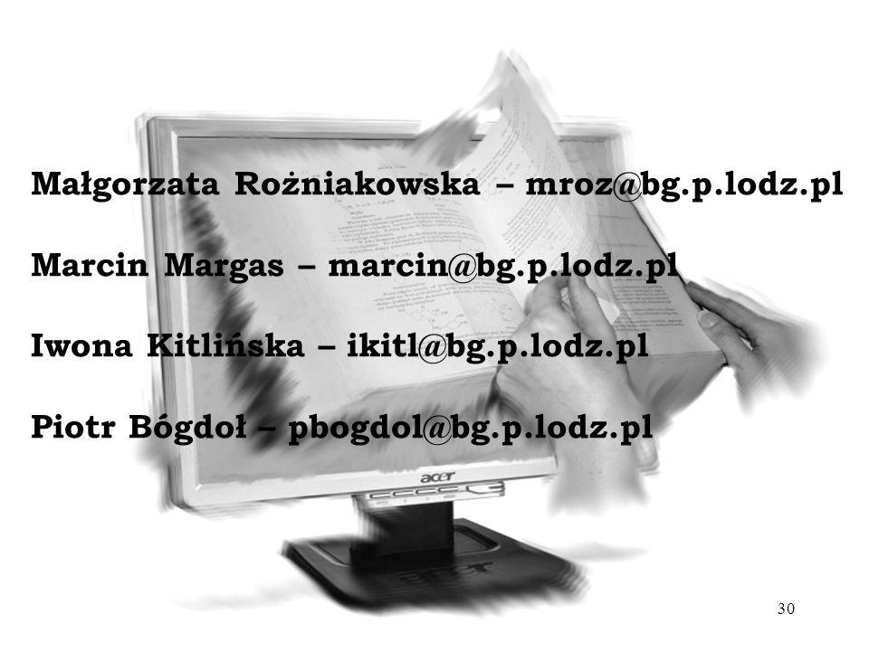 Małgorzata Rożniakowska – mroz@bg. p. lodz