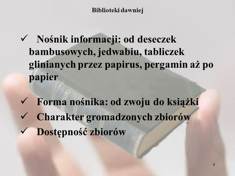 Forma nośnika: od zwoju do książki Charakter gromadzonych zbiorów