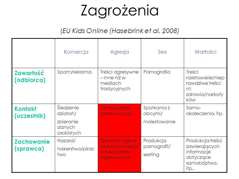 Zagrożenia (EU Kids Online (Hasebrink et al, 2008)