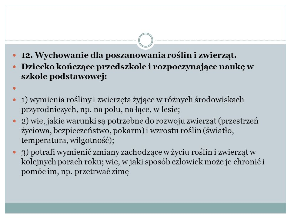 12. Wychowanie dla poszanowania roślin i zwierząt.