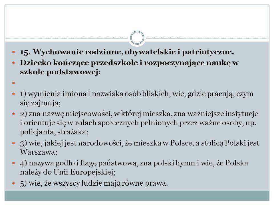 15. Wychowanie rodzinne, obywatelskie i patriotyczne.