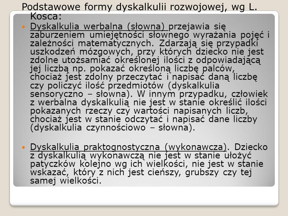 Podstawowe formy dyskalkulii rozwojowej, wg L. Kosca: