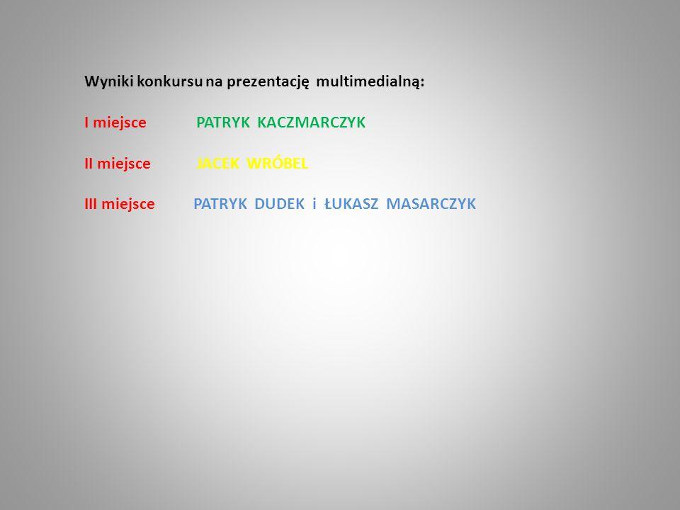 Wyniki konkursu na prezentację multimedialną: