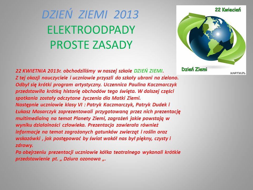 ELEKTROODPADY PROSTE ZASADY DZIEŃ ZIEMI 2013