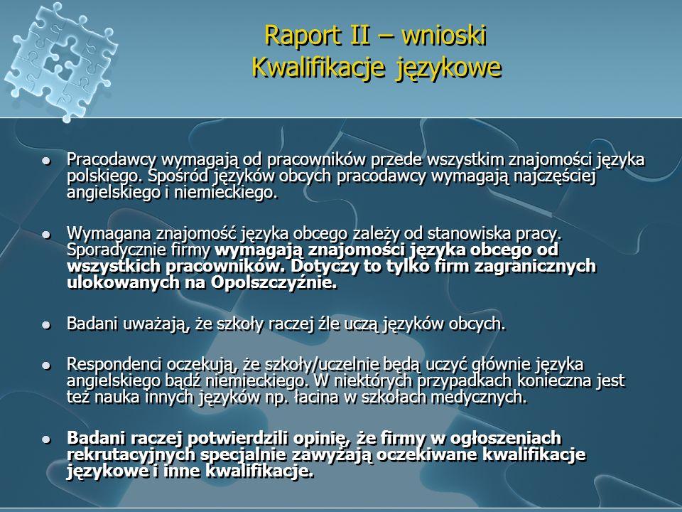 Raport II – wnioski Kwalifikacje językowe