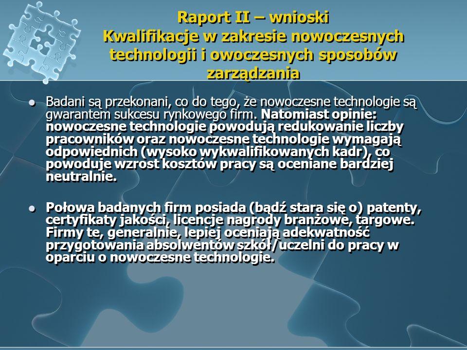 Raport II – wnioski Kwalifikacje w zakresie nowoczesnych technologii i owoczesnych sposobów zarządzania