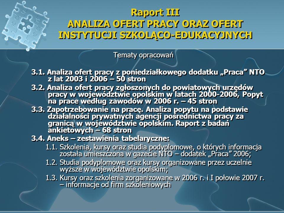 Raport III ANALIZA OFERT PRACY ORAZ OFERT INSTYTUCJI SZKOLĄCO-EDUKACYJNYCH