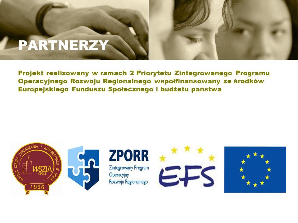 PARTNERZY Projekt realizowany w ramach 2 Priorytetu Zintegrowanego Programu Operacyjnego Rozwoju Regionalnego współfinansowany ze środków Europejskiego Funduszu Społecznego i budżetu państwa