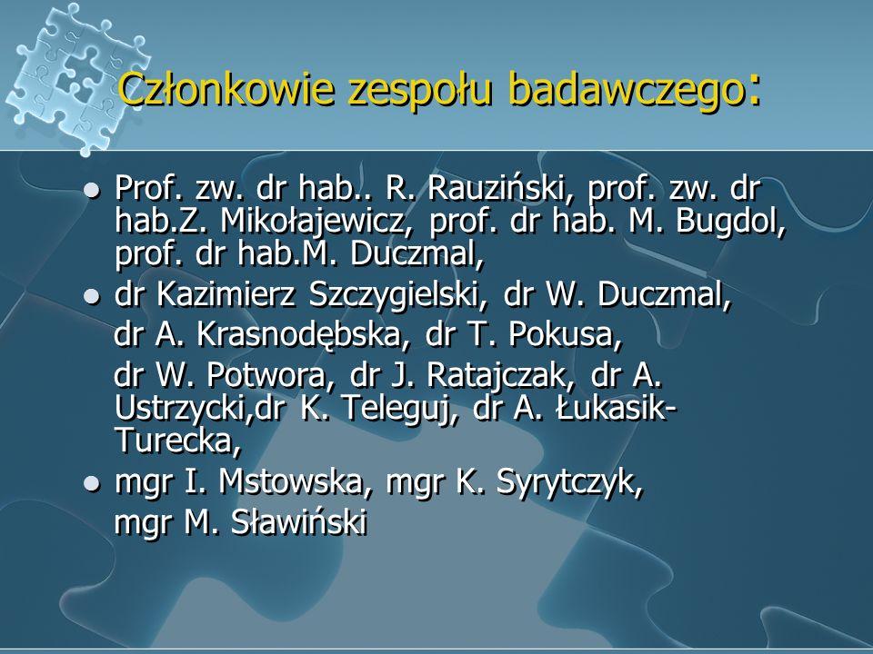 Członkowie zespołu badawczego: