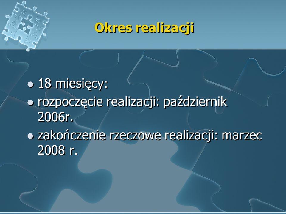 Okres realizacji18 miesięcy: rozpoczęcie realizacji: październik 2006r.