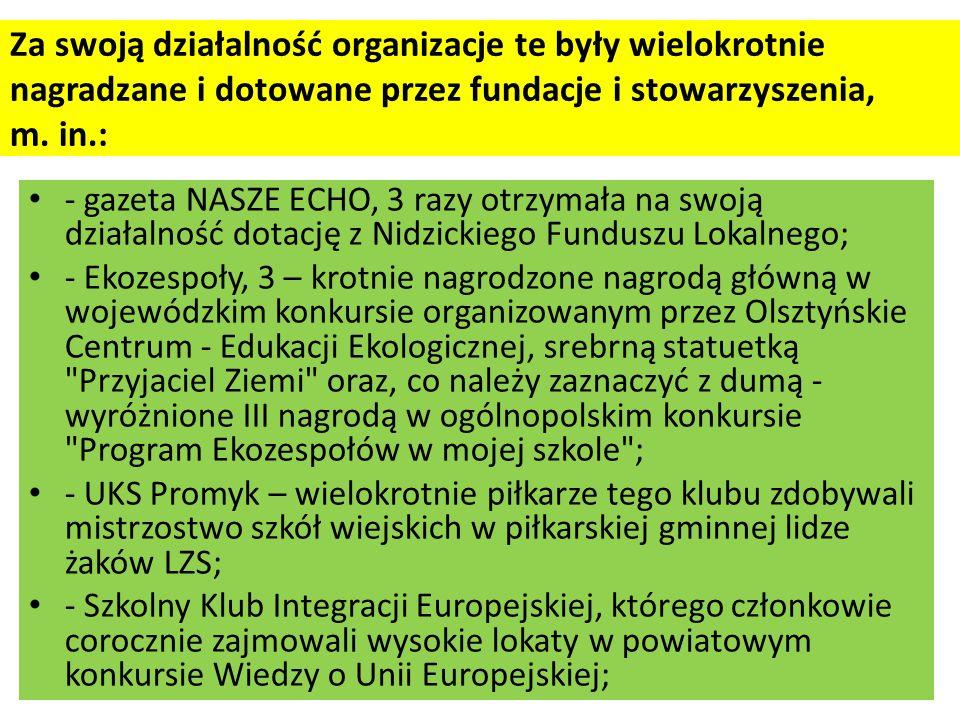 Za swoją działalność organizacje te były wielokrotnie nagradzane i dotowane przez fundacje i stowarzyszenia, m. in.:
