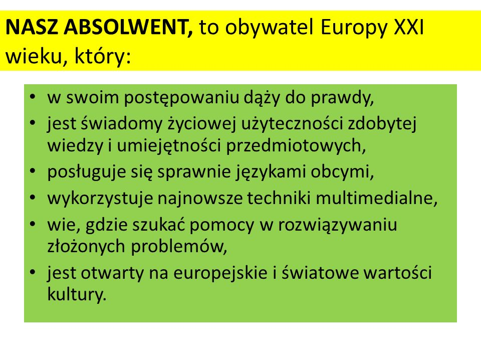 NASZ ABSOLWENT, to obywatel Europy XXI wieku, który: