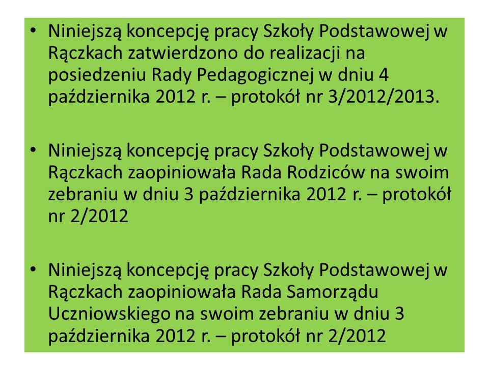 Niniejszą koncepcję pracy Szkoły Podstawowej w Rączkach zatwierdzono do realizacji na posiedzeniu Rady Pedagogicznej w dniu 4 października 2012 r. – protokół nr 3/2012/2013.