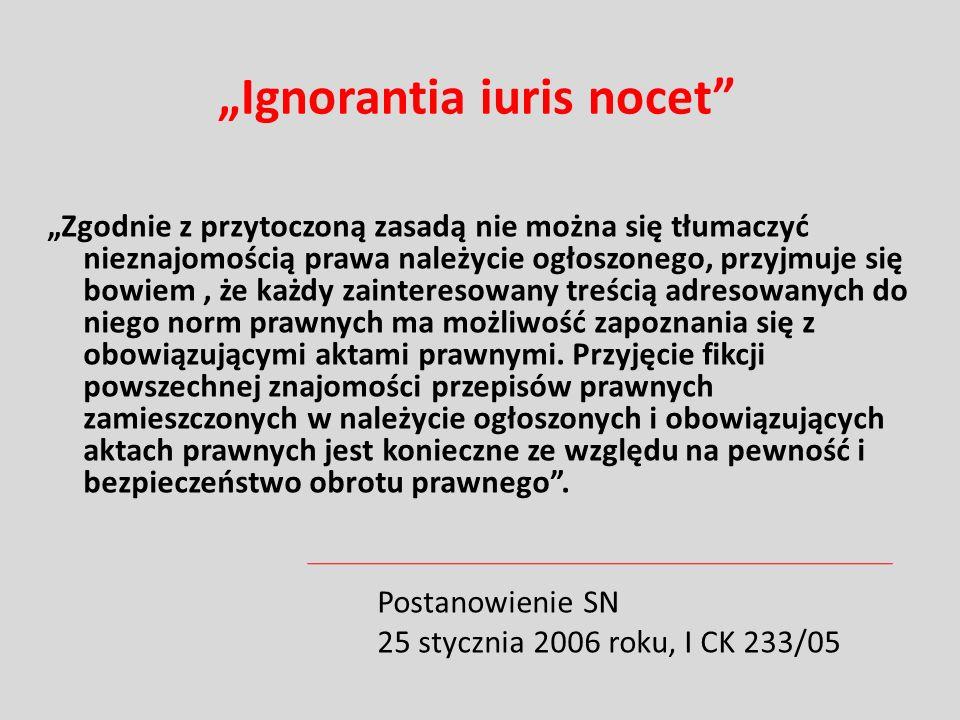 """""""Ignorantia iuris nocet"""