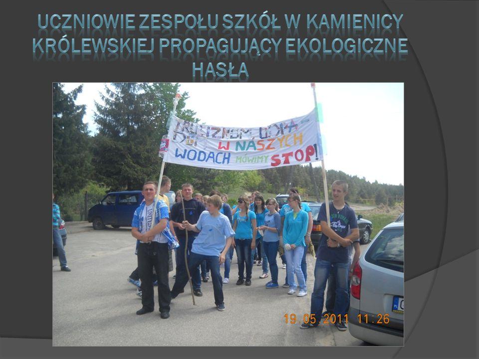 Uczniowie zespołu szkół w Kamienicy Królewskiej propagujący ekologiczne hasła