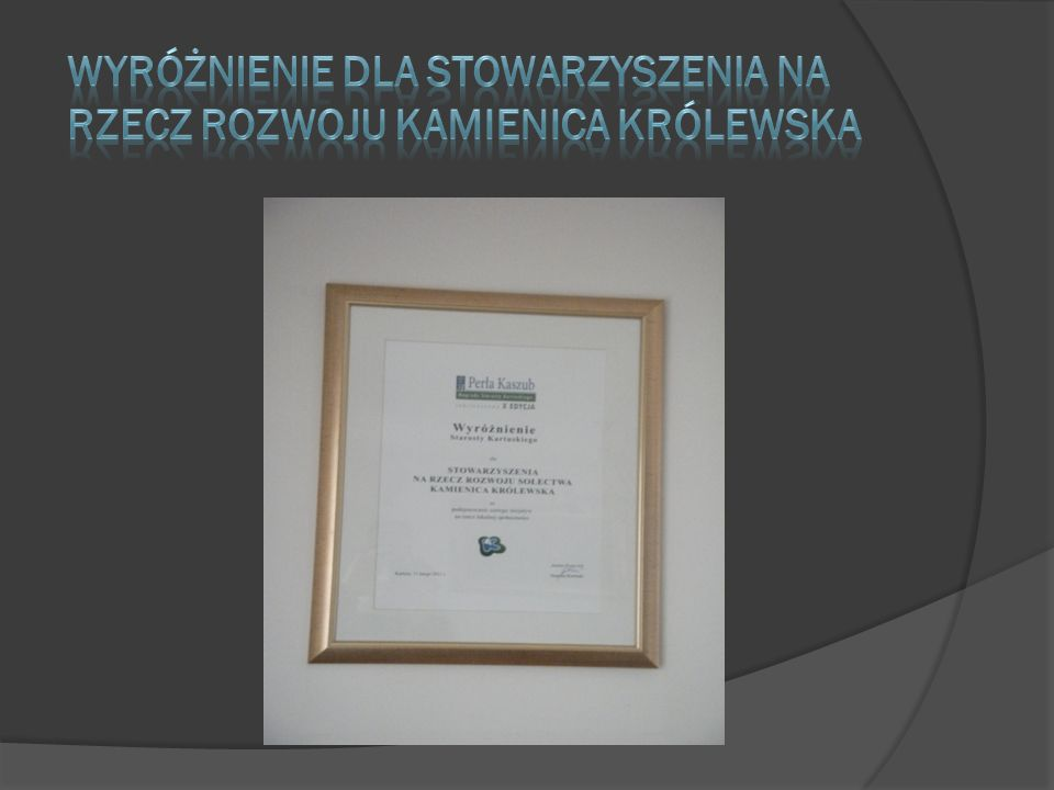 Wyróżnienie dla Stowarzyszenia Na rzecz rozwoju kamienica królewska