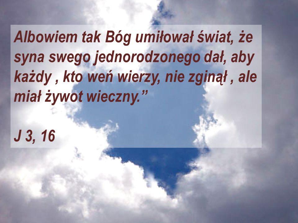 Albowiem tak Bóg umiłował świat, że syna swego jednorodzonego dał, aby każdy , kto weń wierzy, nie zginął , ale miał żywot wieczny.