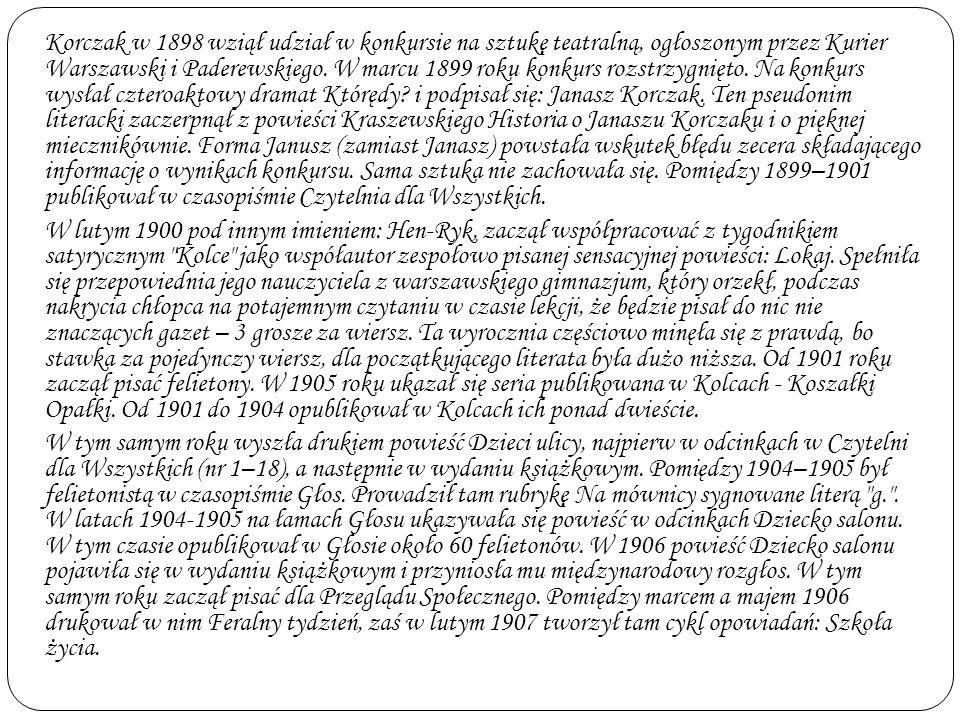 Korczak w 1898 wziął udział w konkursie na sztukę teatralną, ogłoszonym przez Kurier Warszawski i Paderewskiego.