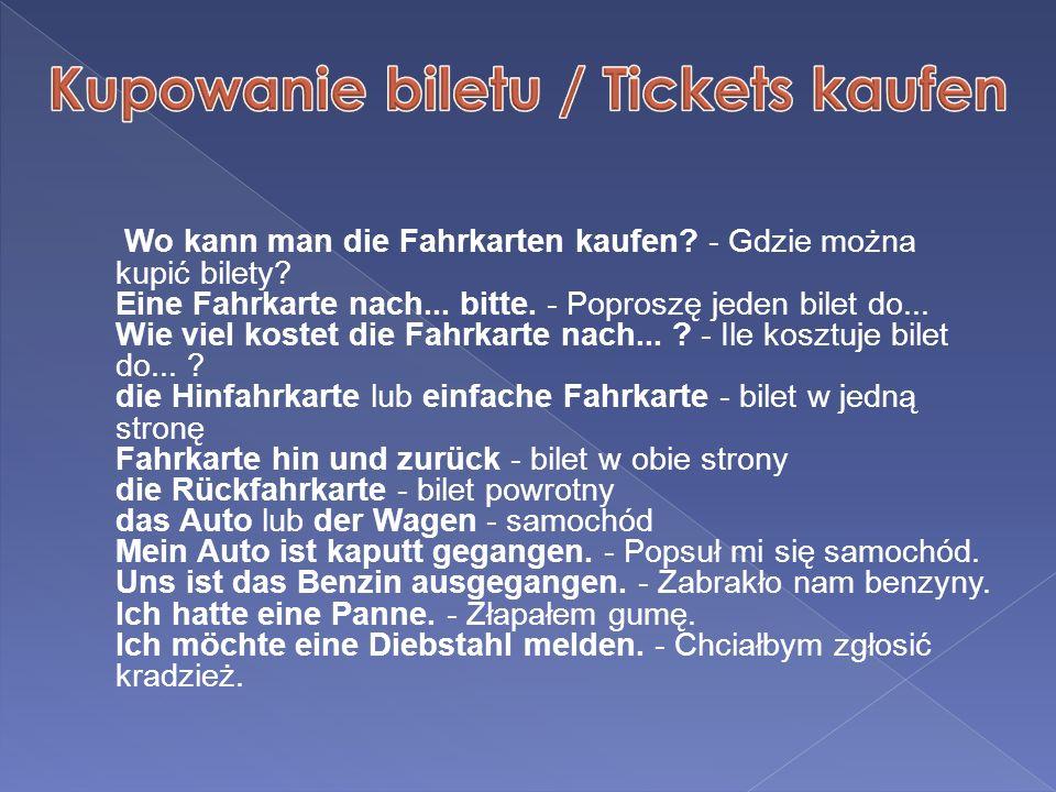Kupowanie biletu / Tickets kaufen