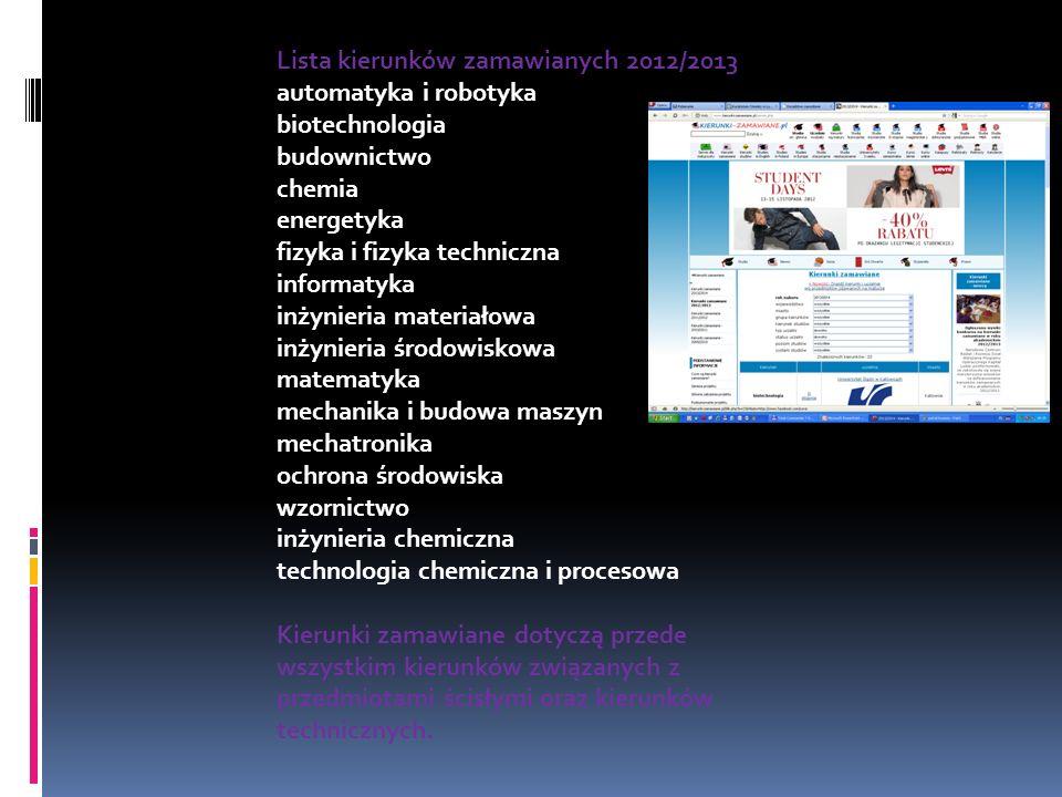 Lista kierunków zamawianych 2012/2013