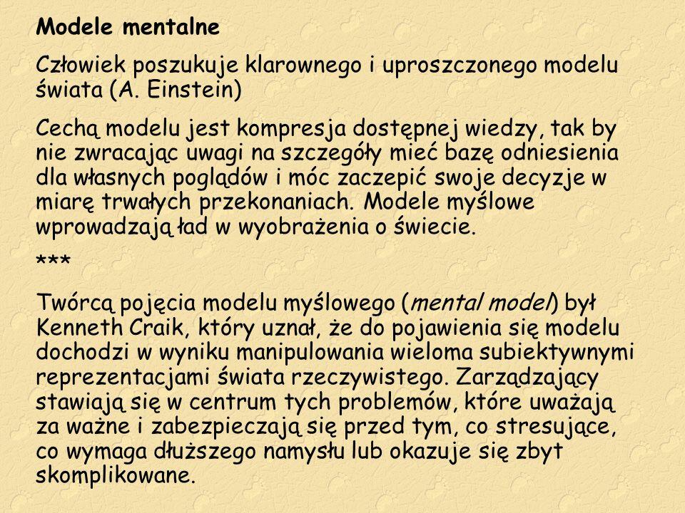 Modele mentalne Człowiek poszukuje klarownego i uproszczonego modelu świata (A. Einstein)