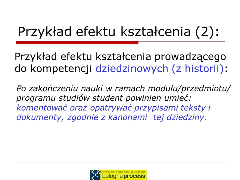 Przykład efektu kształcenia (2):