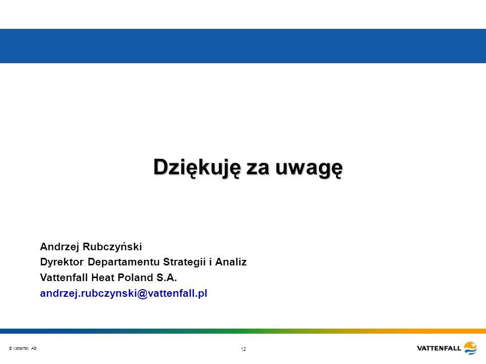 Dziękuję za uwagę Andrzej Rubczyński