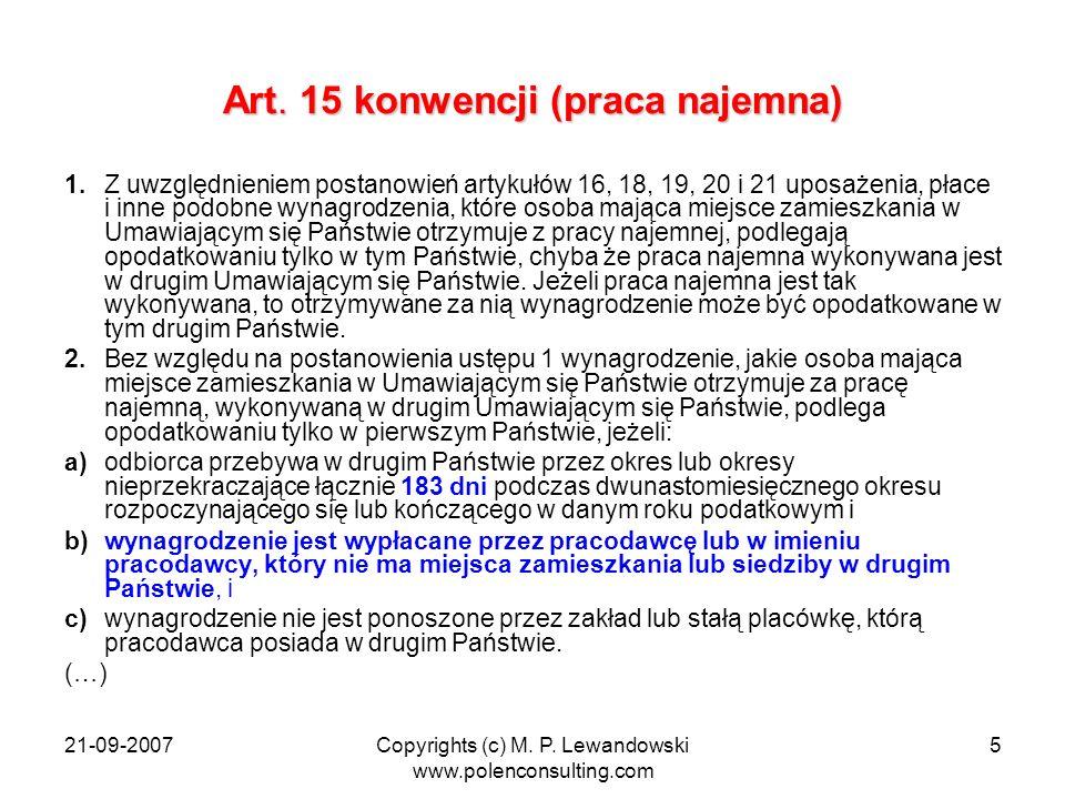 Art. 15 konwencji (praca najemna)
