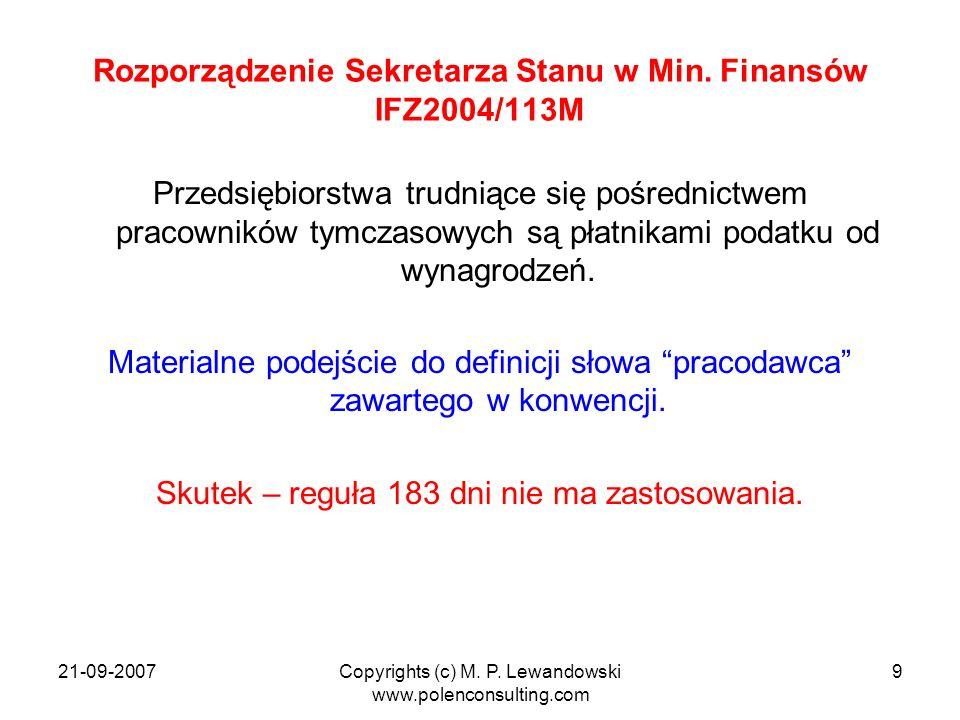 Rozporządzenie Sekretarza Stanu w Min. Finansów IFZ2004/113M