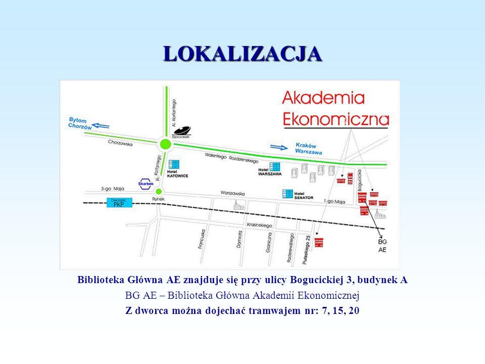 LOKALIZACJA Biblioteka Główna AE znajduje się przy ulicy Bogucickiej 3, budynek A. BG AE – Biblioteka Główna Akademii Ekonomicznej.