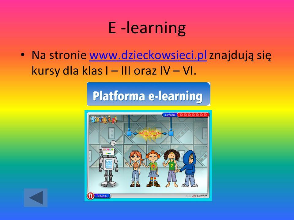 E -learning Na stronie www.dzieckowsieci.pl znajdują się kursy dla klas I – III oraz IV – VI.
