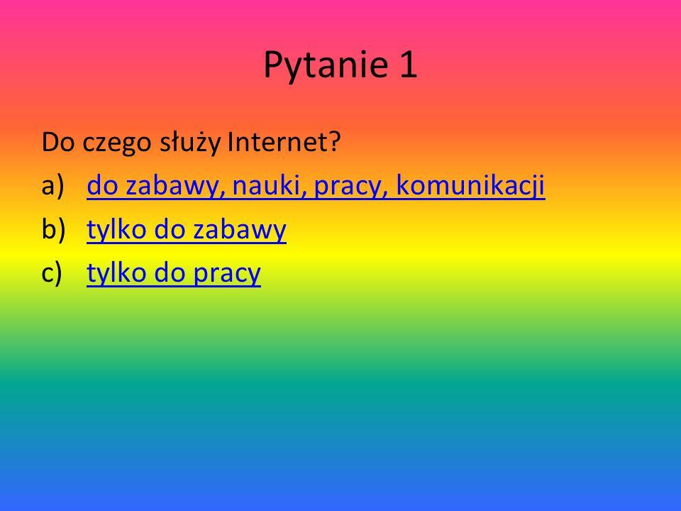 Pytanie 1 Do czego służy Internet