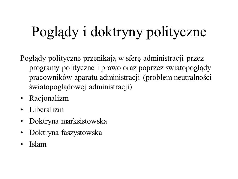 Poglądy i doktryny polityczne