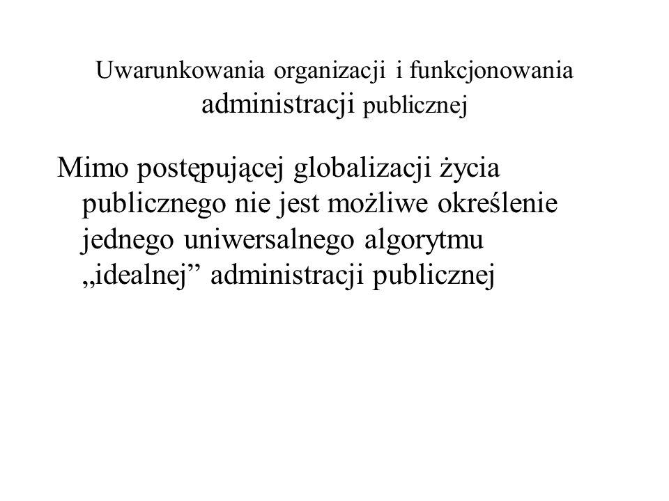 Uwarunkowania organizacji i funkcjonowania administracji publicznej