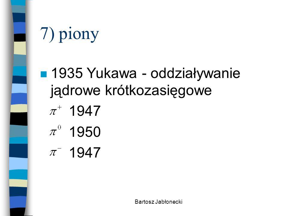 7) piony 1935 Yukawa - oddziaływanie jądrowe krótkozasięgowe 1947 1950