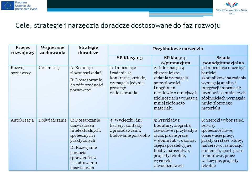 Cele, strategie i narzędzia doradcze dostosowane do faz rozwoju