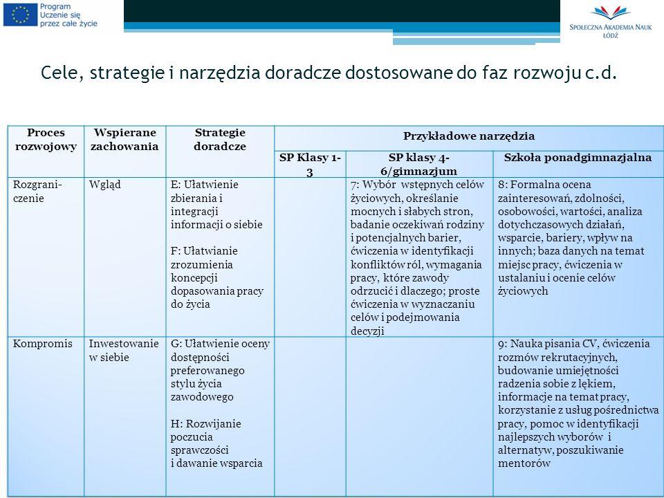 Cele, strategie i narzędzia doradcze dostosowane do faz rozwoju c.d.