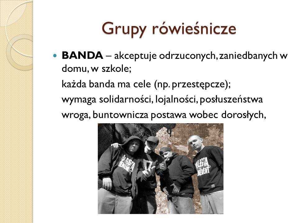 Grupy rówieśnicze BANDA – akceptuje odrzuconych, zaniedbanych w domu, w szkole; każda banda ma cele (np. przestępcze);